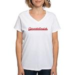 Gerontologist (sporty red) Women's V-Neck T-Shirt