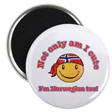 """Not only am I cute i'm Norwegian too 2.25"""" Magnet"""