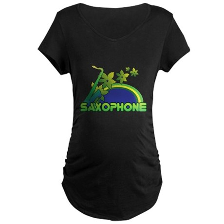 Retro Saxophone Maternity Dark T-Shirt