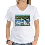 Sailboats / Eng Springer Women's V-Neck T-Shirt