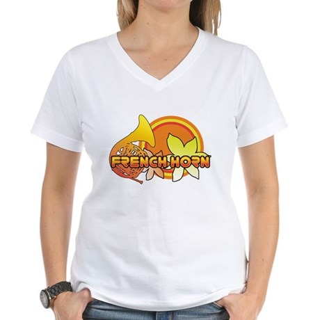 Retro French Horn Women's V-Neck T-Shirt