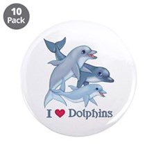 "Dolphin Family and Text 3.5"" Button (10 pack)"