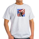 BOSTON TERRIER American Flag  Ash Grey T-Shirt