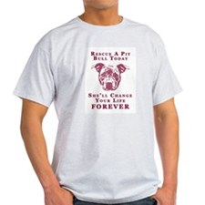 Pit Bull Rescue Ash Grey T-Shirt