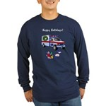 EMS Happy Holidays Greetings Long Sleeve Dark T-Sh