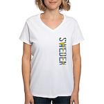 Sweden Stamp Women's V-Neck T-Shirt