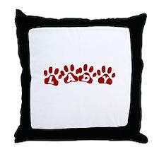 Lady Paw Prints Throw Pillow