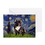 Starry / Fr Bulldog(brin) Greeting Cards (Pk of 20