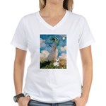 Umbrella /Fr Bulldog (f) Women's V-Neck T-Shirt