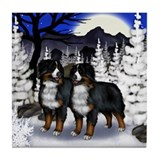 BERNESE MOUNTAIN DOGS WINTER MOON Tile Coaster
