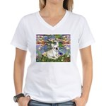 Lilies / Fr Bulldog (f) Women's V-Neck T-Shirt