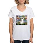 Lilies / Fr Bulldog (f) Women's V-Neck T-Shirt