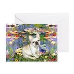 Lilies / Fr Bulldog (f) Greeting Cards (Pk of 20)
