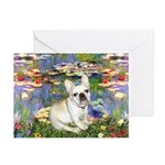 Lilies / Fr Bulldog (f) Greeting Cards (Pk of 10)