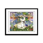 Lilies / Fr Bulldog (f) Framed Panel Print