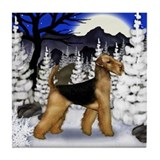 AIREDALE TERRIER DOG WINTER MOON Tile Coaster
