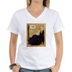 Whistlers / Fr Bull (f) Women's V-Neck T-Shirt