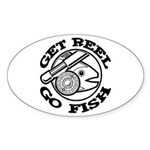 Get Reel Go Fish Oval Sticker