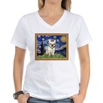 Starry/French Bulldog Women's V-Neck T-Shirt