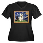 Starry/French Bulldog Women's Plus Size V-Neck Dar