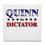 QUINN for dictator Tile Coaster