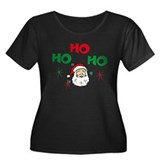 Ho, Ho, Ho! Women's Plus Size Scoop Neck Dark T-Sh