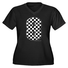 Checkered #8 Women's Plus Size V-Neck Dark T-Shirt
