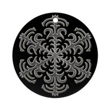 Silver Snowflake Black Background Holiday Ornament