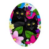 Black Cats Garden Flowers Oval Ornament