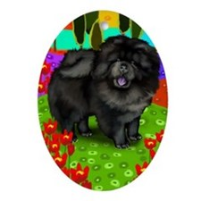 Black Chow Chow Dog Oval Ornament