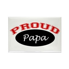 Proud Papa (black and red) Rectangle Magnet