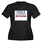 NYLA for dictator Women's Plus Size V-Neck Dark T-