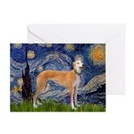 Starry / Greyhound (f) Greeting Card