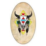 Tribal Cow Skull Oval Decal