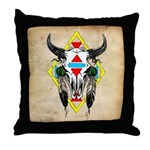 Tribal Cow Skull Throw Pillow