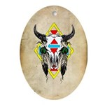 Tribal Cow Skull Oval Ornament