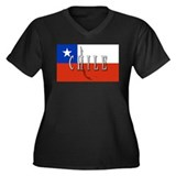 Chile Flag Extra Women's Plus Size V-Neck Dark T-S
