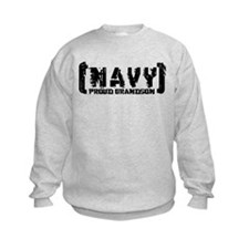 Proud NAVY Grndsn - Tattered Style Sweatshirt