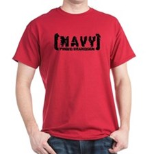 Proud NAVY Grndsn - Tattered Style T-Shirt