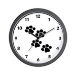 Pet Paw Prints Modern Wall Clock