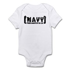 Proud NAVY DtrNlaw - Tattered Style Infant Bodysui