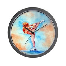 Peaches & Cream Ice Skate Wall Clock