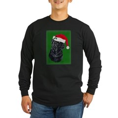 Lola, The Black Lab Santa Long Sleeve Dark T-Shirt