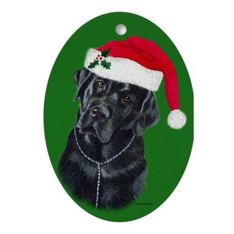 Lola, The Black Lab Santa Oval Ornament