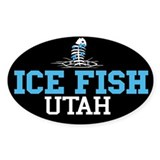 Ice Fish Utah Oval Bumper Stickers
