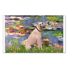 Lilies2/Greyhound (f) Sticker (Rectangle)