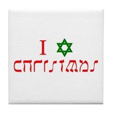 I Star Christmas Tile Coaster