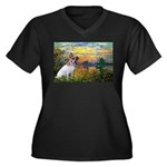 Sunset / JRT Women's Plus Size V-Neck Dark T-Shirt