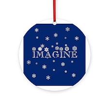 IMAGINE with Snowflakes Porcelain Ornament