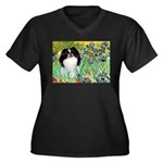 Irises/Japanese Chin Women's Plus Size V-Neck Dark